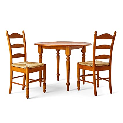 Svitlife Wood And Rush 3 Piece Ladderback Dining Set Set Dining Chairs Back  Ladder Country