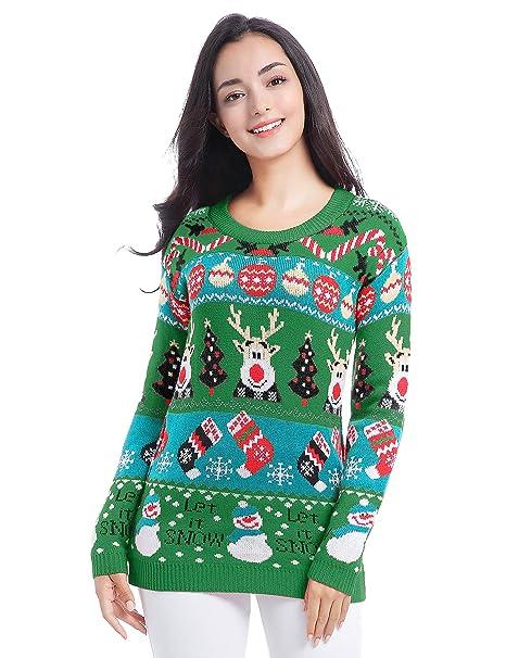 106fc29ed9 v28 Christmas Sweater Cardigan Ugly Women Girls Vintage Fun Knit Xmas  Sweater (X-Small