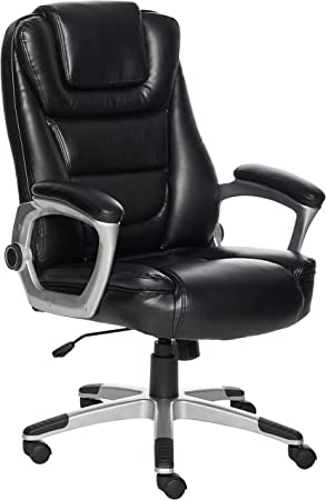 Amazonbasics Bonded Leather High Back Office Chair Easy Tool Free Assembly Black Amazon Ca Home Kitchen