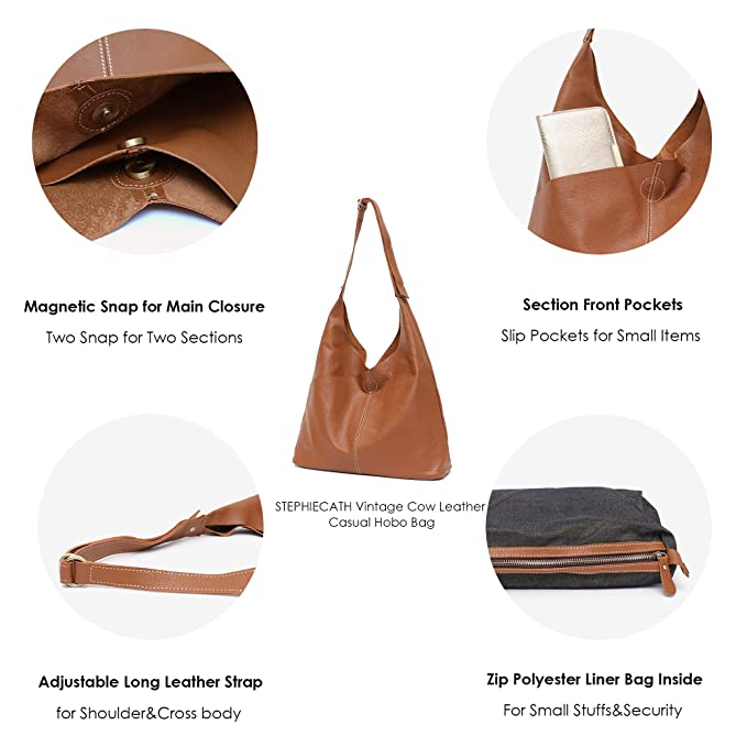 0aa25667e551 Amazon.com  Genuine Leather Women s Shoulder Bag STEPHIECATH Large Casual  Soft Real Leather Skin Tote Vintage Snap Basket Carry Bag (TAN)  Musical ...
