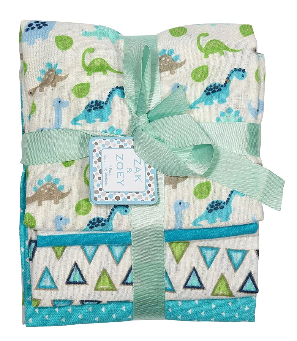 Zak and Zoey 4-Pack Flannel Receiving Blankets Green, Light Blue, Turquoise
