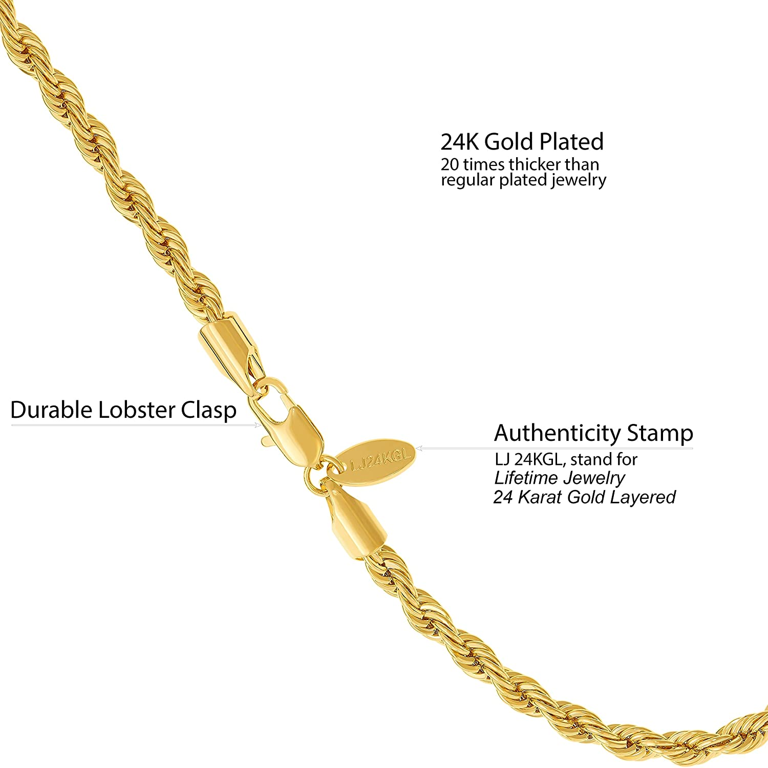 9a185301f2588 Best Seller Lifetime Jewelry Gold Chain Necklace 5mm Rope Chain