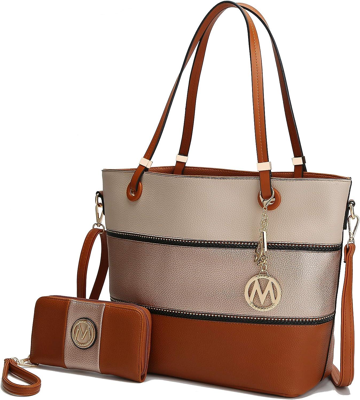 Mia K Collection Tote Satchel Handbag for Women, Wristlet Wallet Set – PU Leather Bag – Top Handle Shoulder Purse