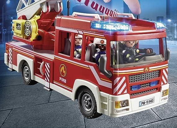 PLAYMOBIL City Action Camión de Bomberos con Escalera, Luces y Sonido, a Partir de 5 Años (9463): Amazon.es: Juguetes y juegos