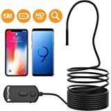 BlueFire 1080P 5.5mm Diameter Semi-rigid Inspection Camera, 2 MP HD WiFi Borescope Snake Camera, Zoomable Picture 1800mAh Battery Wireless Endoscope for Android and iOS Smartphone, Tablet (16.4FT)