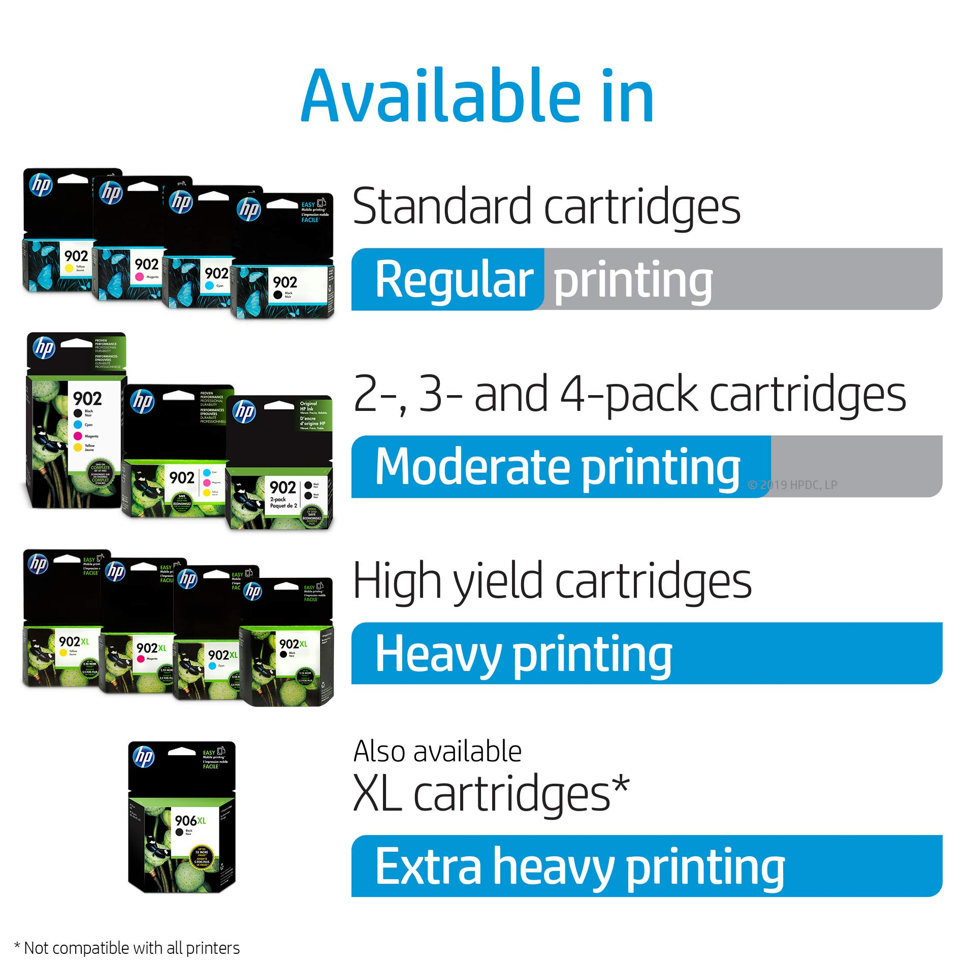 HP 902 Black, Cyan, Magenta & Yellow Ink Cartridges, 4 Cartridges (T6L98AN, T6L86AN, T6L90AN, T6L94AN) by HP (Image #3)