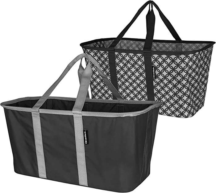 CleverMade Collapsible Fabric Laundry Basket - Foldable Pop Up Storage Container Organizer - Space Saving Hamper with Carry Handles, Pack of 2, Charcoal/Grey and Grey/Charcoal (7076-3908-41052PK)