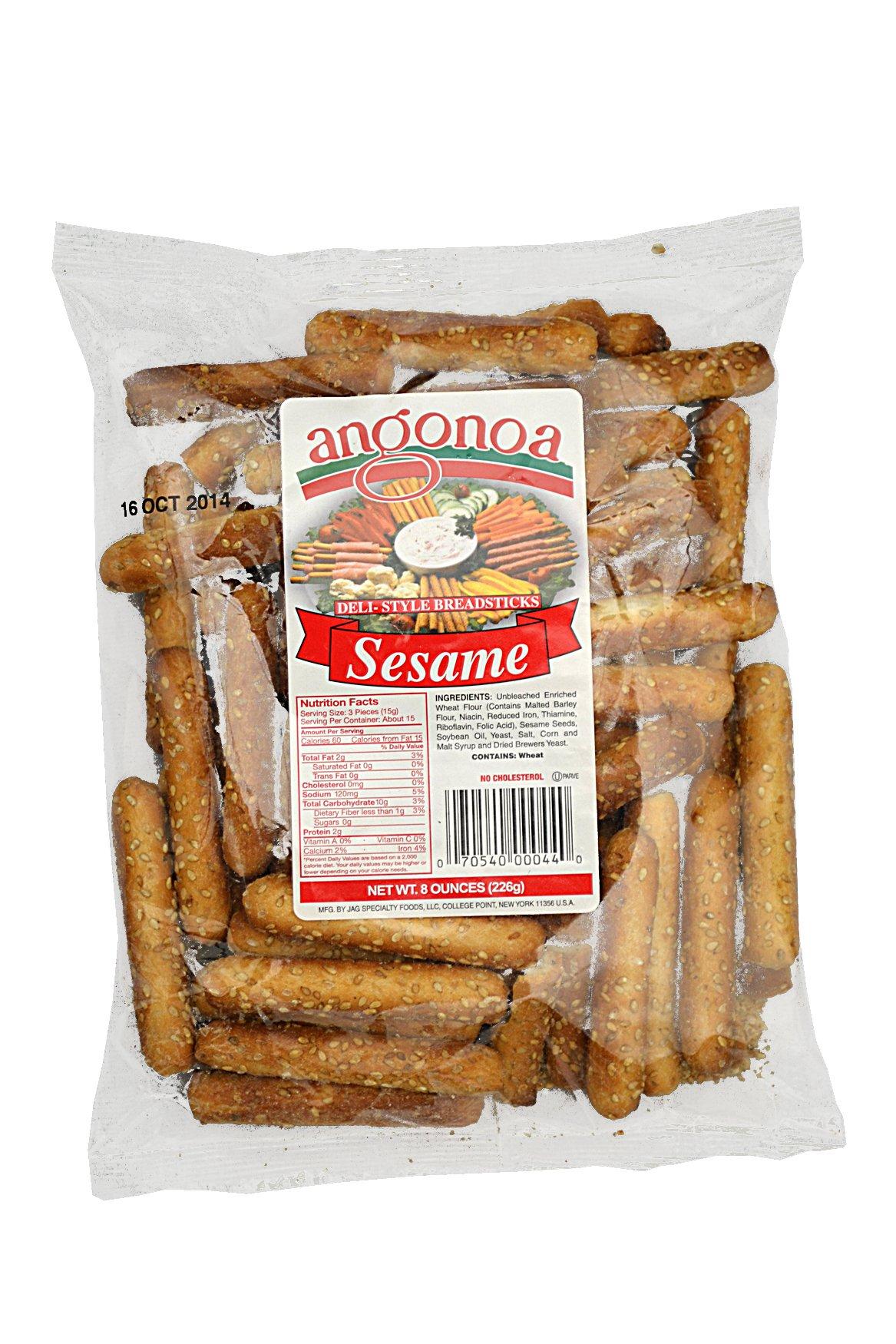 Angonoa's Breadsticks Bag, Sesame, 8 Ounce (Pack of 12)