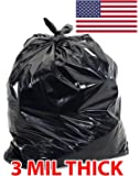 Ox Plastics Extra Heavy Duty Contract Trash Can Liners, Real 3 MIL Thick, Puncture Resistant, 36x52, 55 Gallon, 3 Mil, Large Garbage Bags (25)