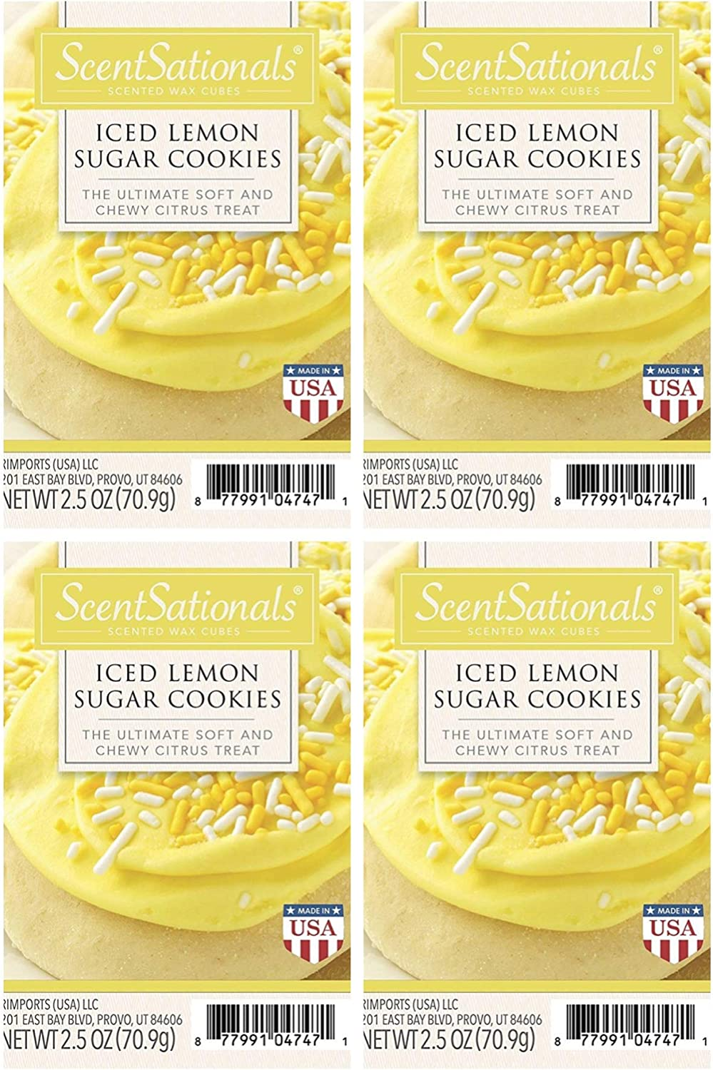 ScentSationals Iced Lemon Sugar Cookies Scented Wax Cubes - 4-Pack