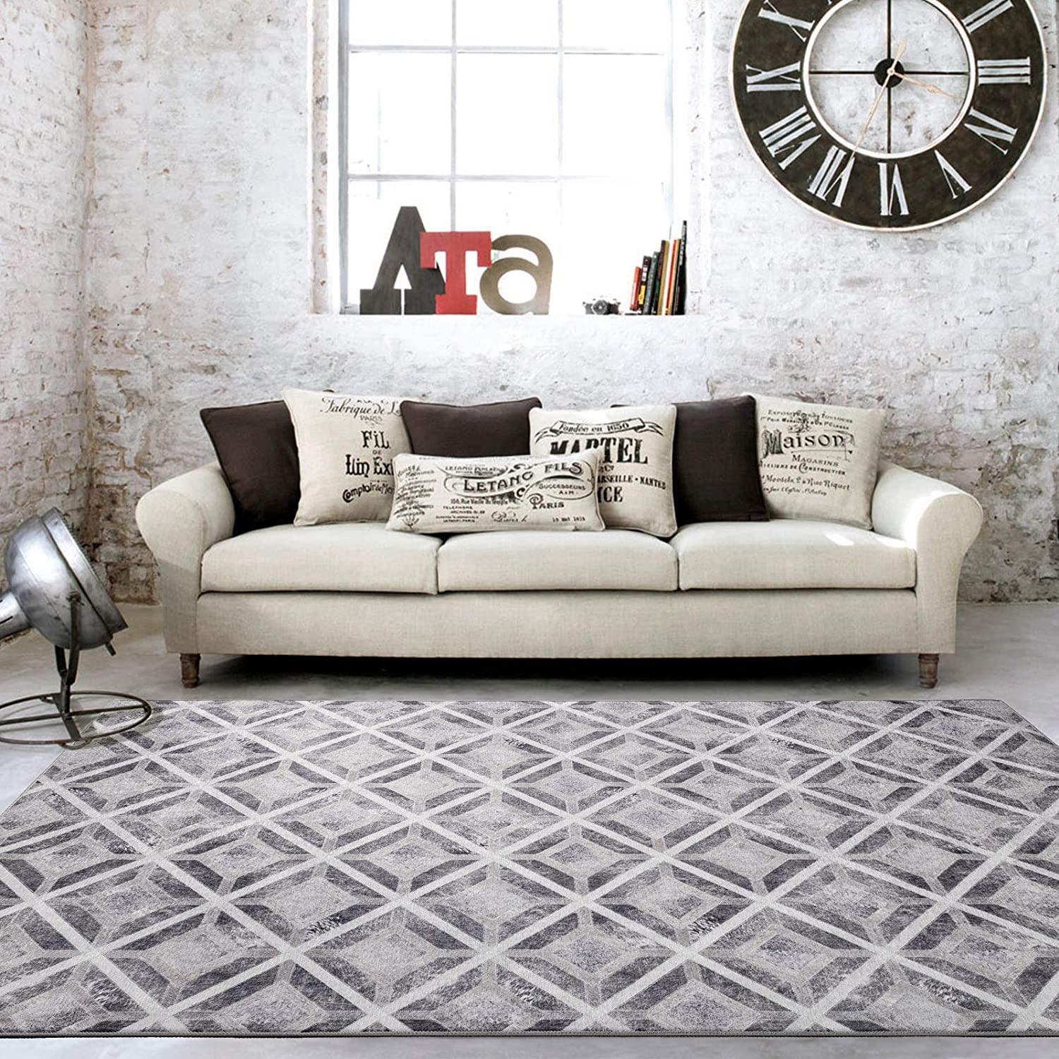 Decomall Faux Cowhide Patchwork Printed Area Rug For Living Room Bedroom Gray 8x10 Kitchen Dining