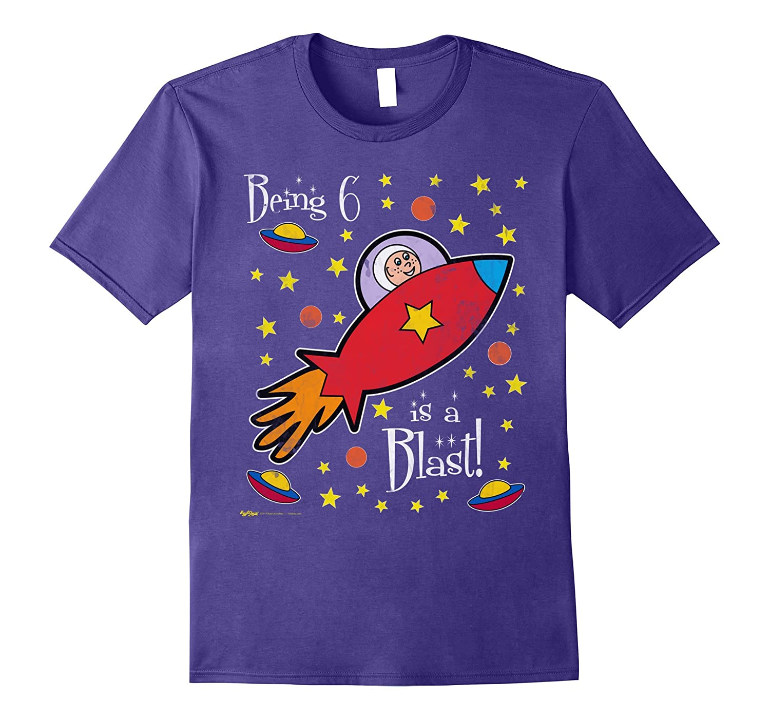 Being 6 is a Blast! My 6th Outer Space Rocket Birthday Tee-BN