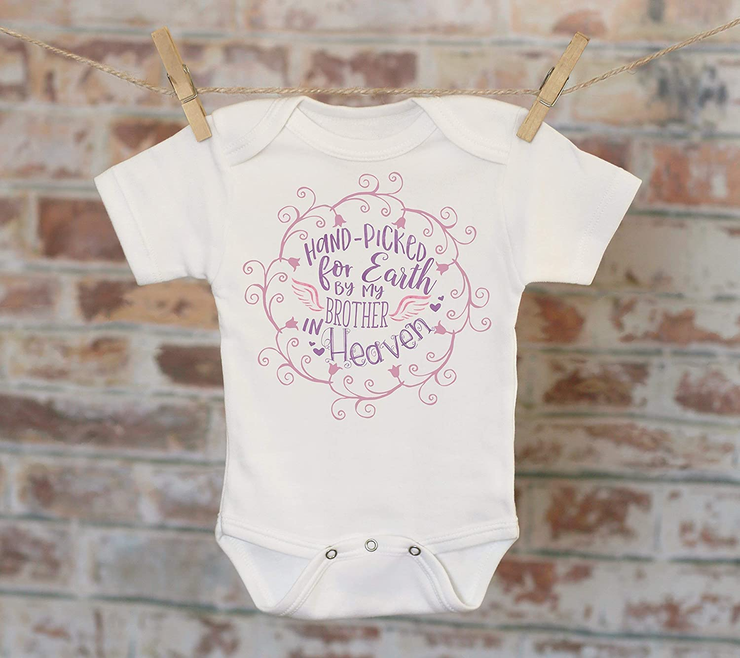 Handpicked for Earth By My Brother In Heaven Onesie® in Purple, Sentimental Onesie, Rainbow Baby Onesie, Rainbow Sister