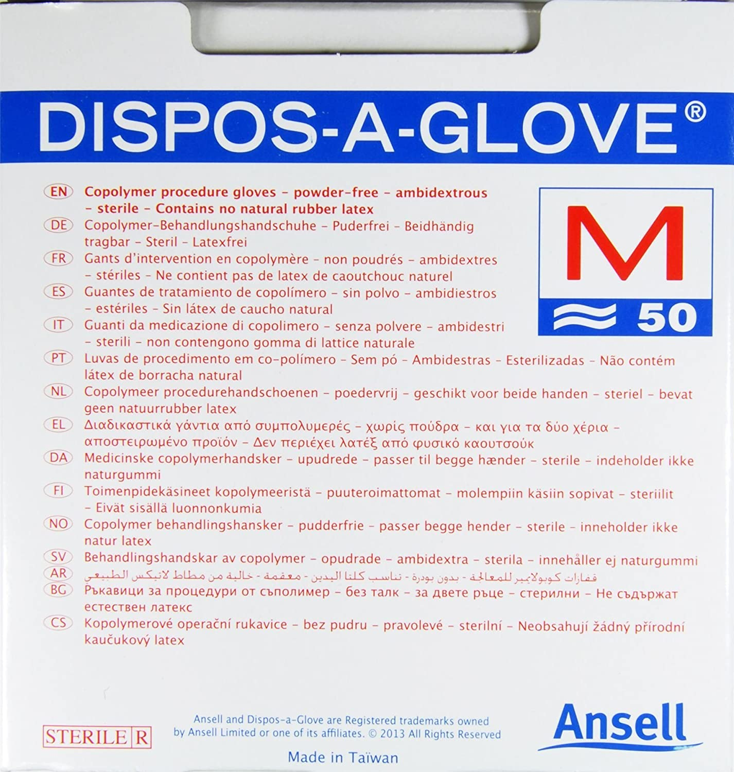 Ansell Dispos-A-Glove, Powder Free Examination Gloves, Sterile, Medium, Box of 50