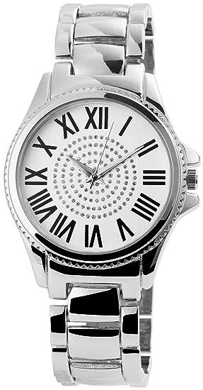 Reloj mujer Blanco Plata Números Romanos Analog brillantes metal Reloj de pulsera