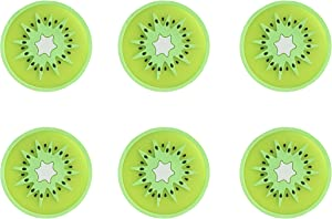 Ocharzy Coaster for Drinks Silicone Coasters Fruit Slices 6 Pack Cute Coasters Non Slip Cup Mat for Drinks (Kiwi)