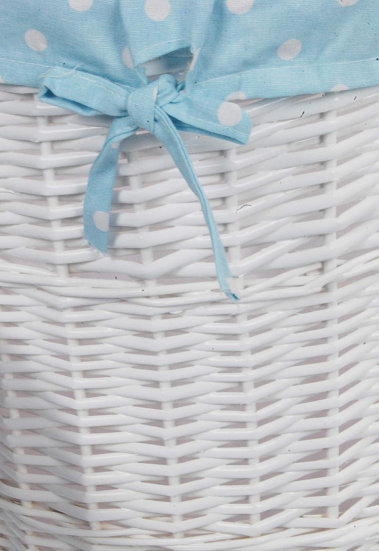 dvier/ /Cesta para la Colada Mimbre Blanco Babyblau Redondo d.32/h.47