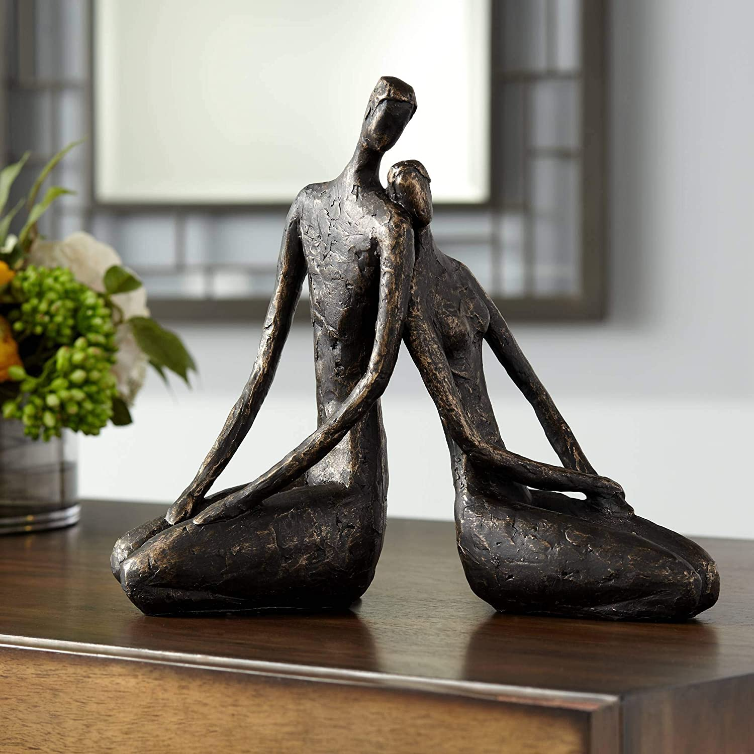 "Dahlia Studios Loving Couple 11 1/2"" Wide Bronze Sculpture"