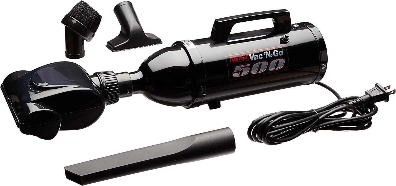 MetroVac Black Powder Coated High Performance Hand Vac with Turbo Driven Rotating Brush, 120-Volt - Corded
