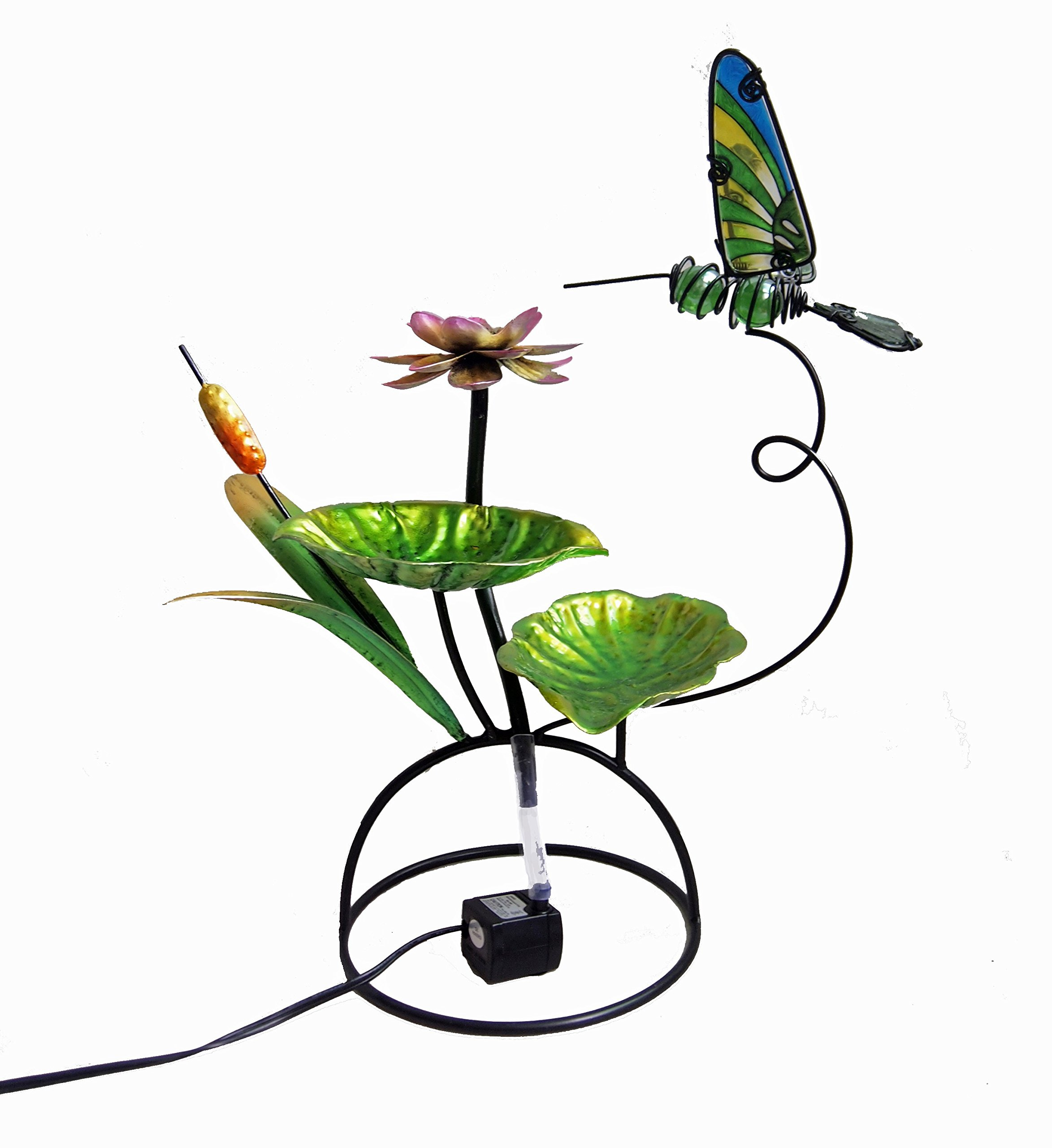 Continental Art Center Metal and Glass Hummingbird Fountain, 18 by 18 by 13-Inch