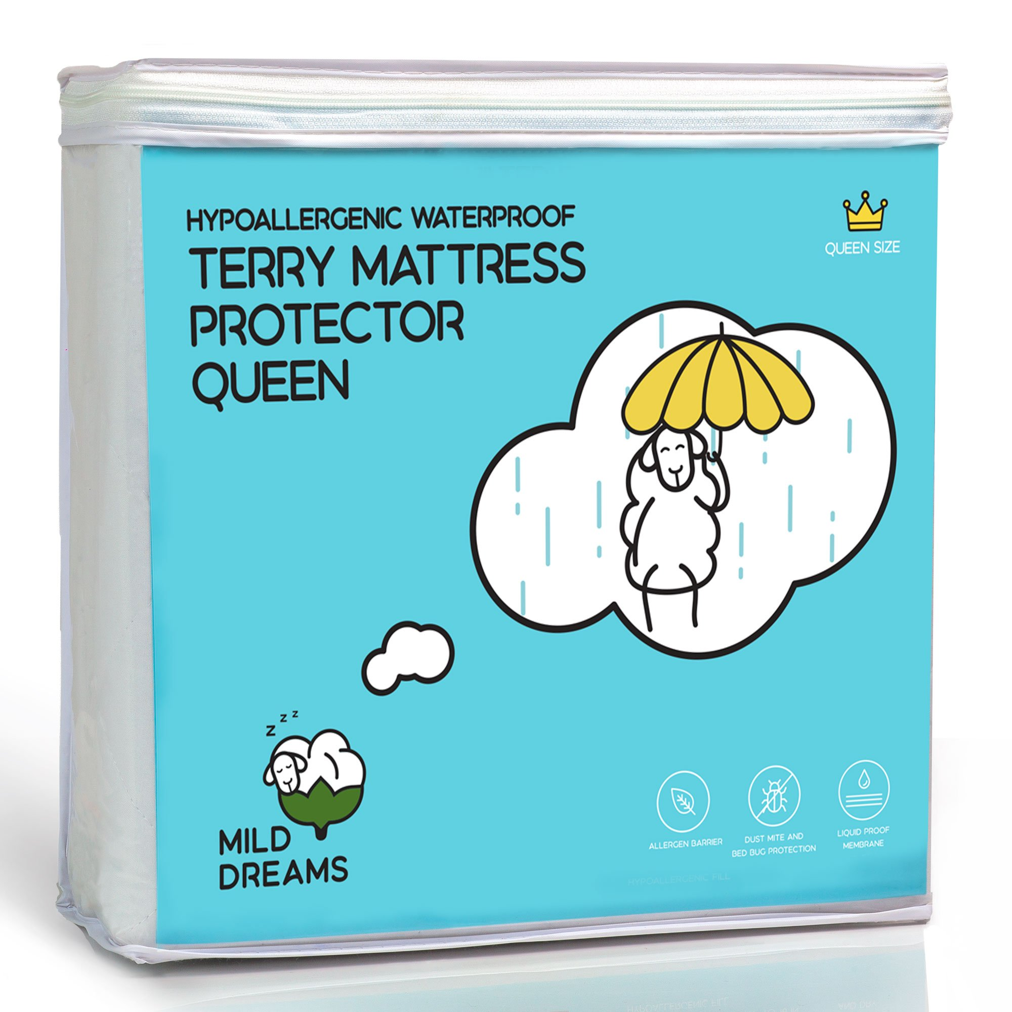 Milddreams Waterproof Mattress Protector Pad Queen - Plastic Bed Cover - Waterproof Fitted Sheet - Queen size (60x80+18 inch Deep Pocket) - Hypoallergenic - Vinyl Free - 10 Year Warranty