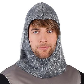 0fcef2cf38c70 Mens Boys Fabric faux Chainmail Coif Knight Hood Hat Headwear LARP Armour  Medieval Lord King Arthur