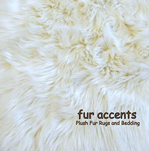 Fur Accents Off White Faux Fur Amazon Polar Bear Area Rug 5 x7