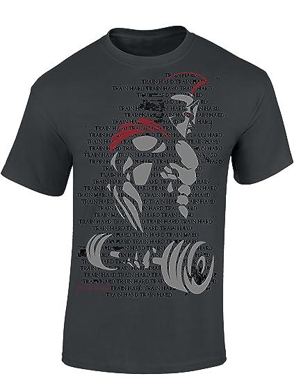 3160f8031351cf T-Shirt  Train Hard Spartan - Fitness Geschenke für Damen   Herren -  Bodybuilding