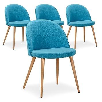Menzzo Maury Lot De 4 Chaises Scandinaves Tissu Bleu Turquoise 51