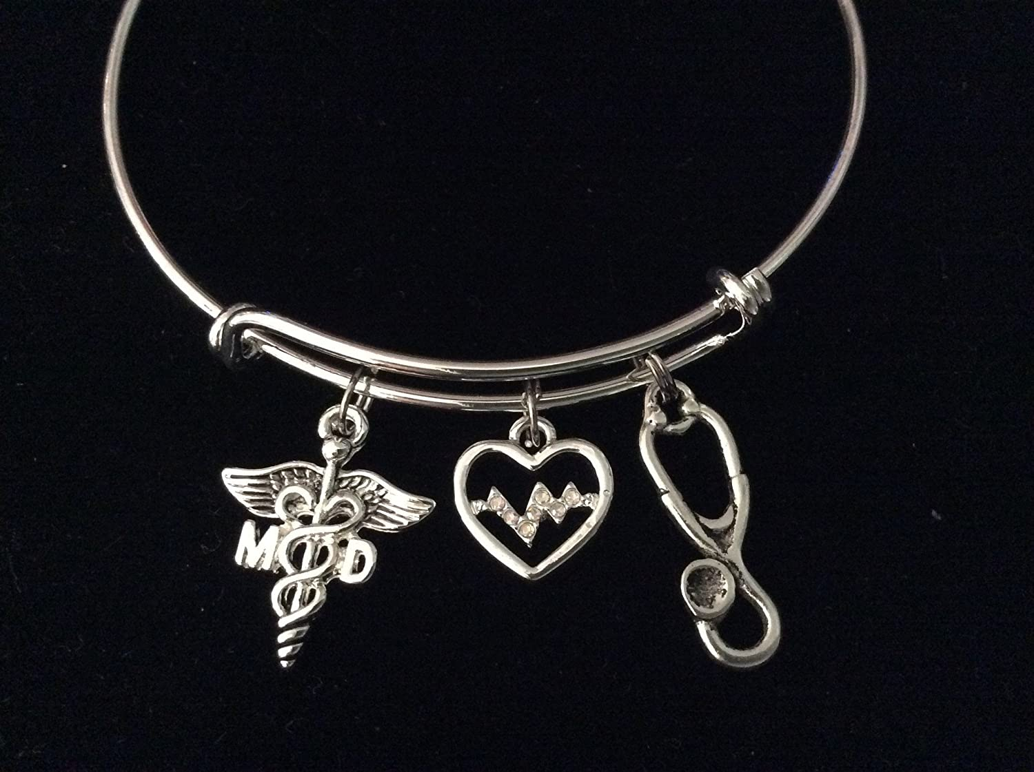 MD Medical Doctor Caduceus EKG Crystal Heart Heartbeat and Stethoscope Silver Expandable Charm Bracelet Adjustable Bangle With Optional 2017 Charm