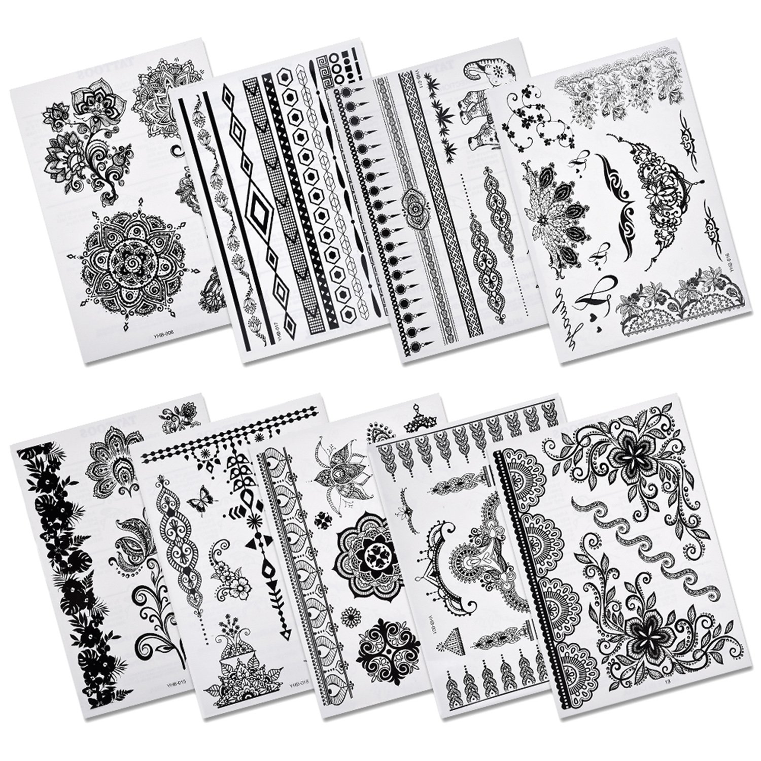 Pinkiou henna tattoo stickers lace mehndi for Temporary tattoo sticker
