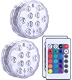 Lumière submersible de LED 2 pièces avec la télécommande, lampe multi de couleur imperméable d'Alilimall pour les piscines, bains chauds, vase de base, floral, aquarium, étang, mariage, partie, éclairage