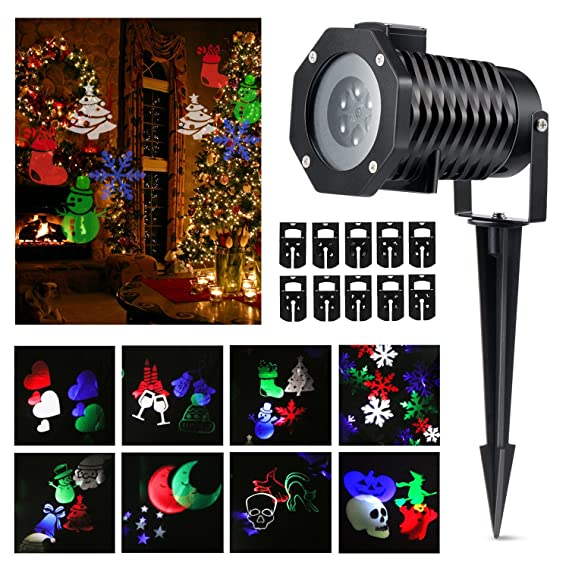 Halloween Projector lights, Magicfly Rotating Projection Led Lights Snowflake Spotlight, 10PCS Pattern Lens Xmas Led Projector Light Show Multicolor landscape lights Waterproof for Wall Party, Multi