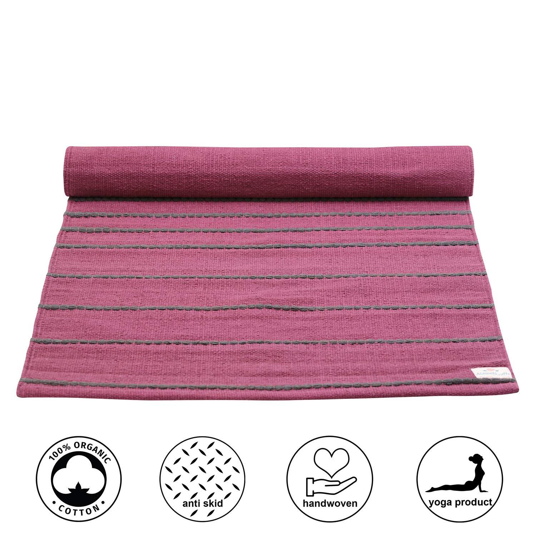 and Meditation Pink Pilates Fitness Organic cotton mat for Yoga