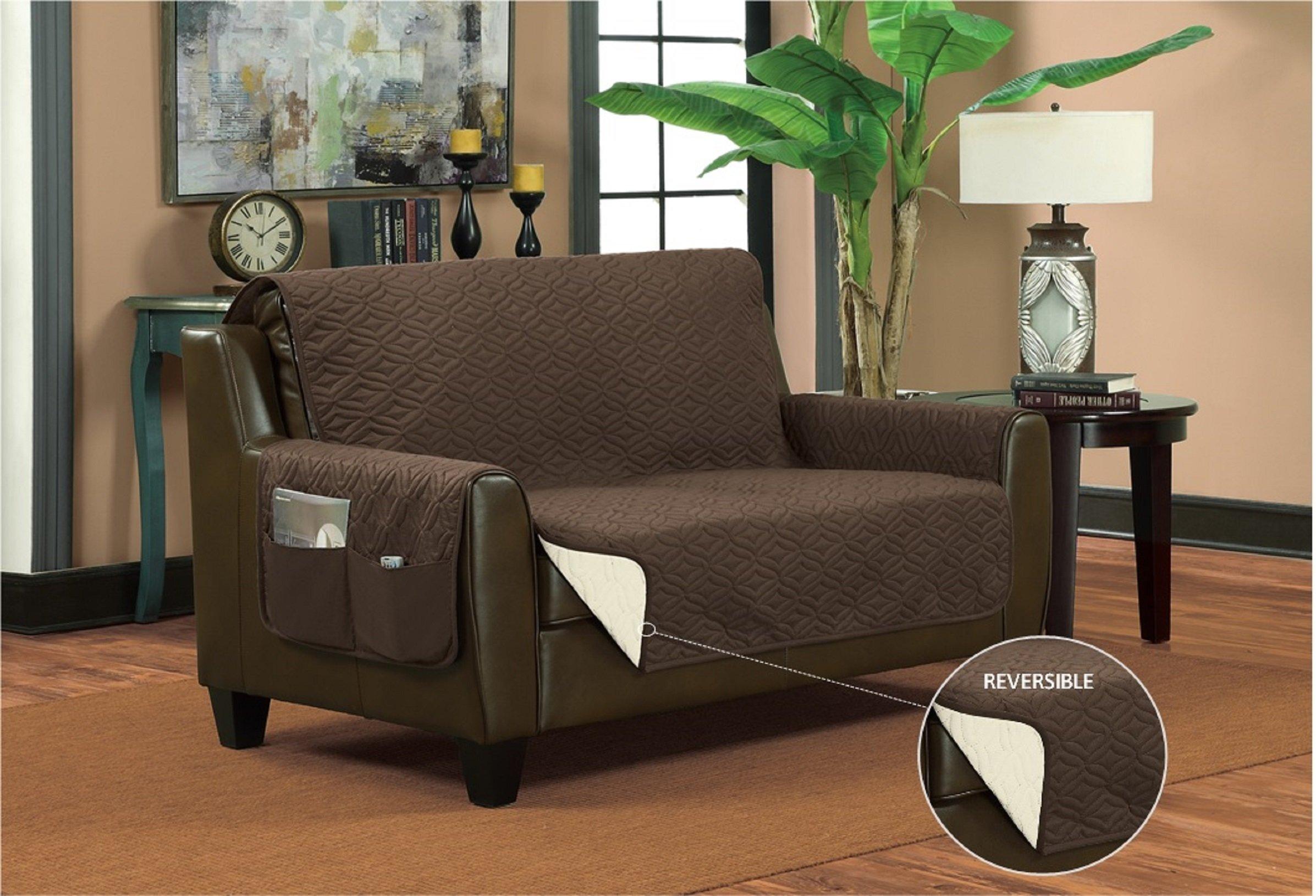 Bella Kline Reversible SOFA Furniture Protector, With 2 Storage Pockets - Mocha / Tan