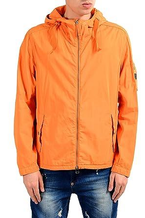 2ab37b4bb Hugo Boss Olvaro-D Men's Orange Full Zip Hooded Windbreaker Jacket US S IT  48