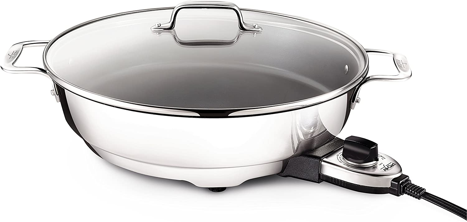 All-Clad SK492 Electric Skillet with Adjustable Temperature Dial, 7 Quart, Stainless Steel