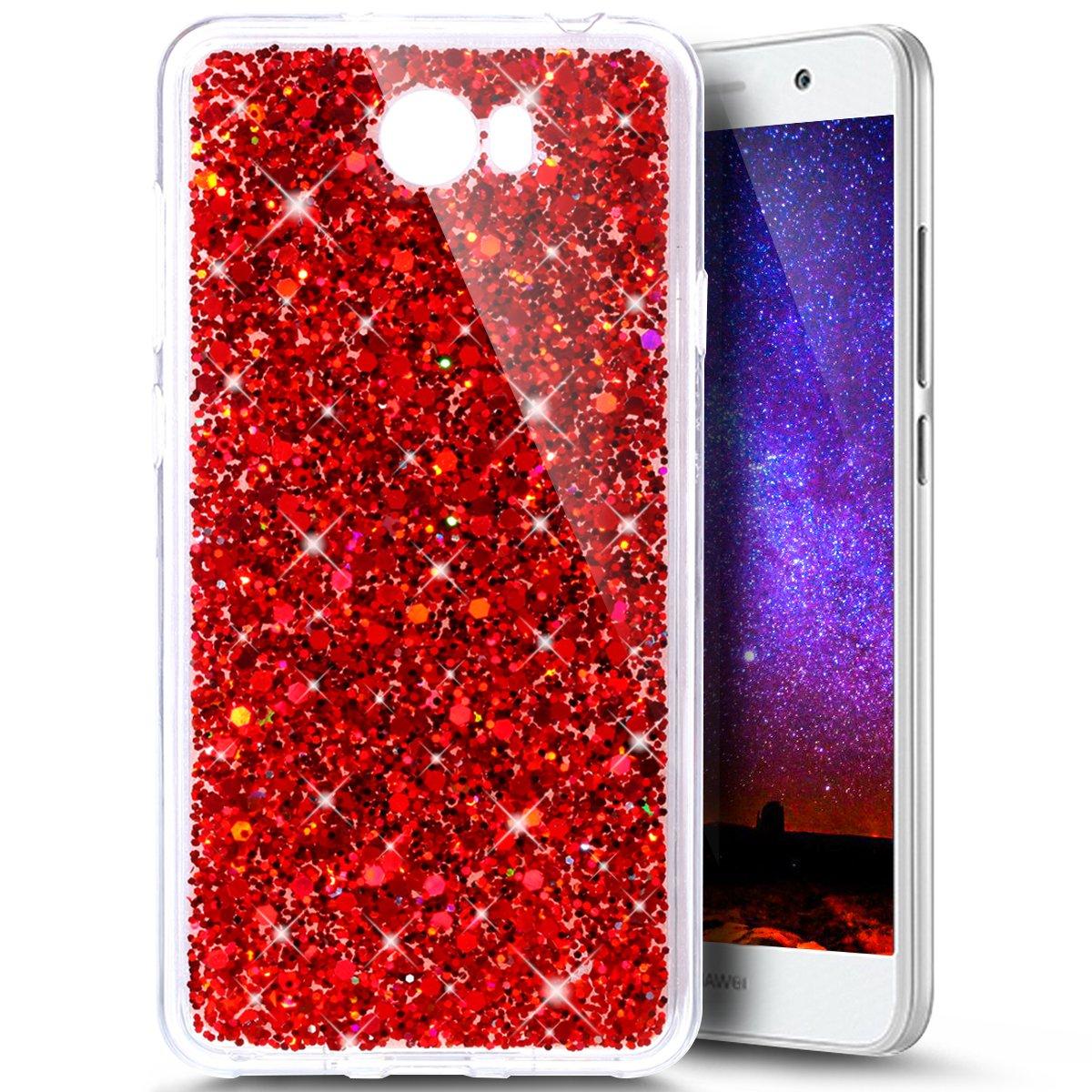 Paillette Coque pour Huawei Y5 II,Huawei Y5 2 Coque Silicone Étui Ultra Mince Housse Brillants Coque Rouge Etui en Silicone, Huawei Y5 2 Silicone Case Soft TPU Cover, Ukayfe Etui de Protection Cas en caoutchouc en Ultra Slim Souple Cristal Transparent Clai