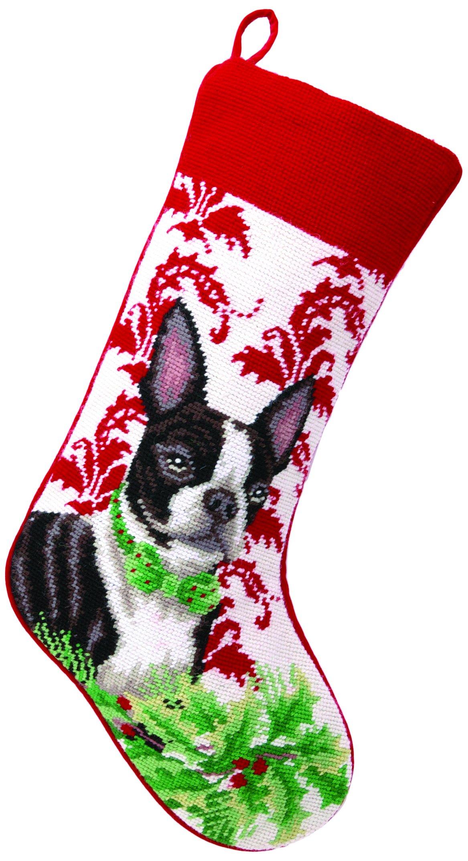 Peking Handicraft Needlepoint Stocking Boston Terrier, 11 x 18'' by Peking Handicraft (Image #1)