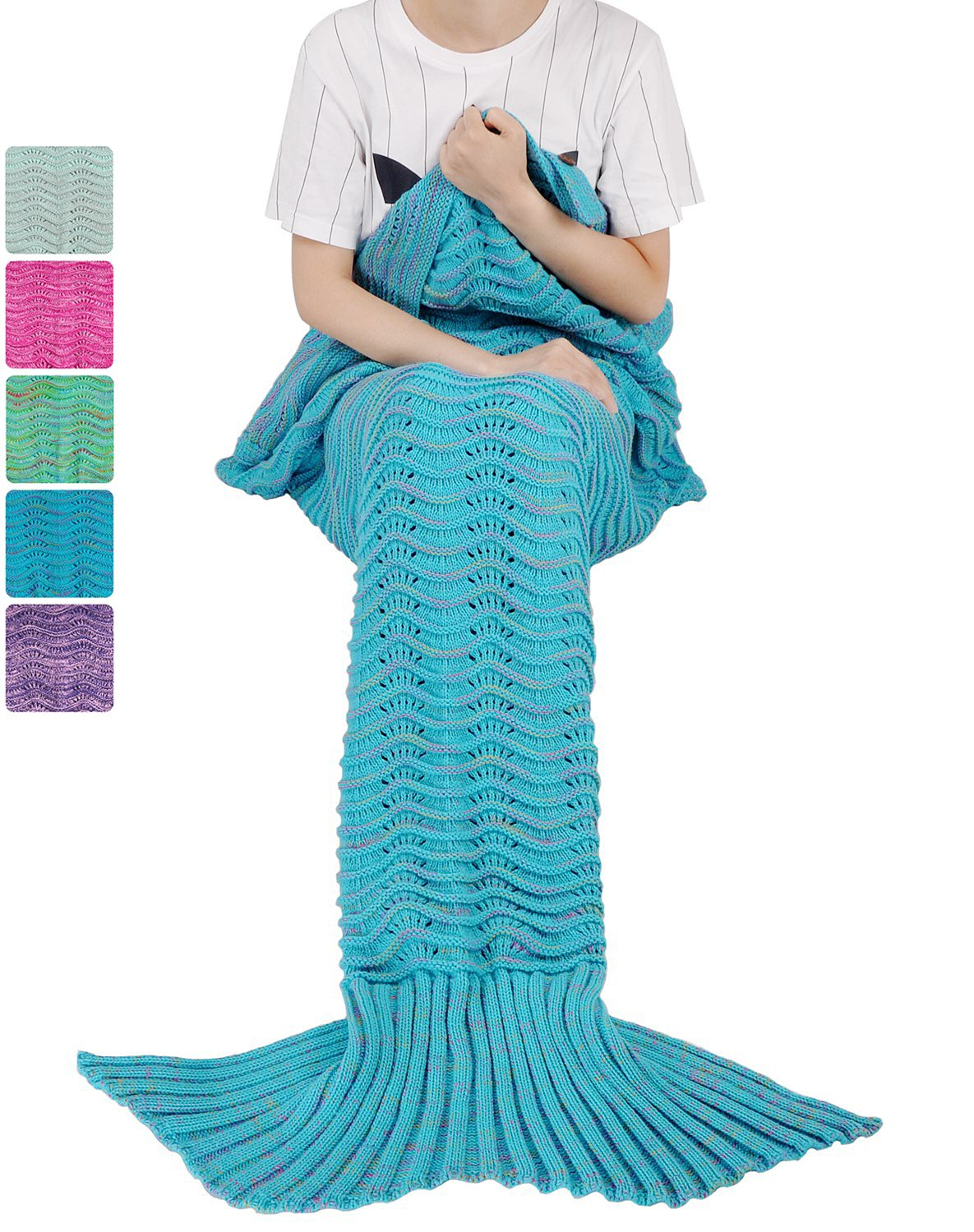 Mermaid Tail Blanket for Teen Girls with Anti-slip Neck Strap Wave Pattern | Soft Sleeping Bag for All Seasons Blue