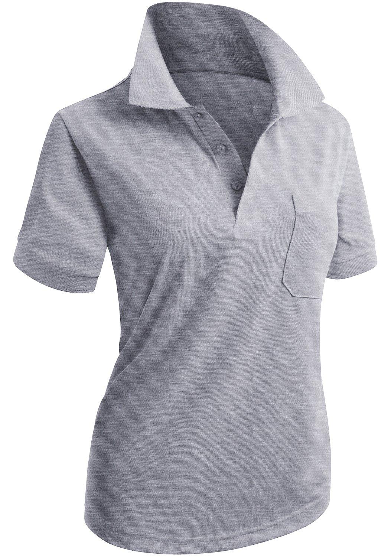 CLOVERY Women's Golf Wear Short Sleeve Polo with Pocket Melange US XXL/Tag XXXL