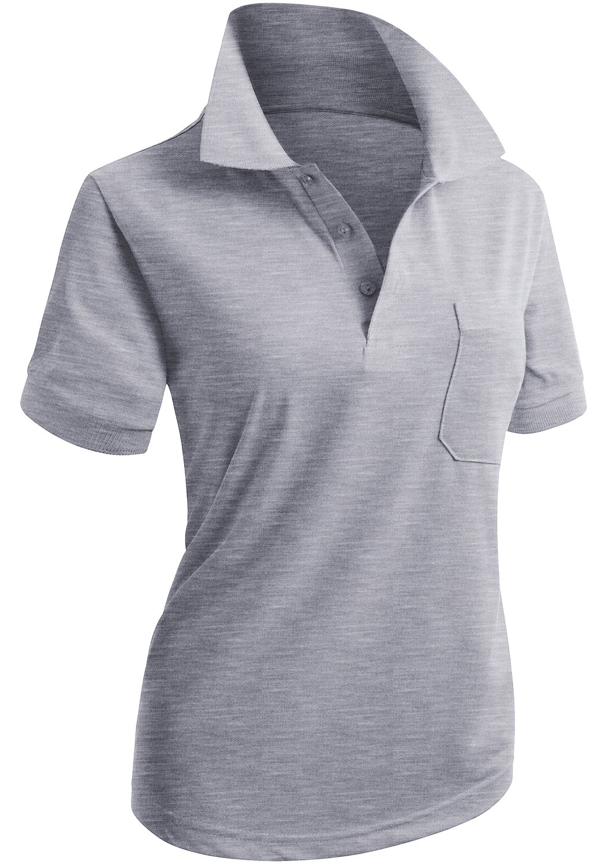 CLOVERY Women's Golf Wear Short Sleeve Polo with Pocket Melange US XXL/Tag XXXL by CLOVERY (Image #1)