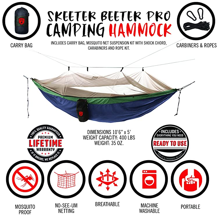 Grand Trunk Skeeter Beeter Pro Mosquito Hammock - Portable and Packable Camping Hammock with Mosquito Net and Suspension Kit