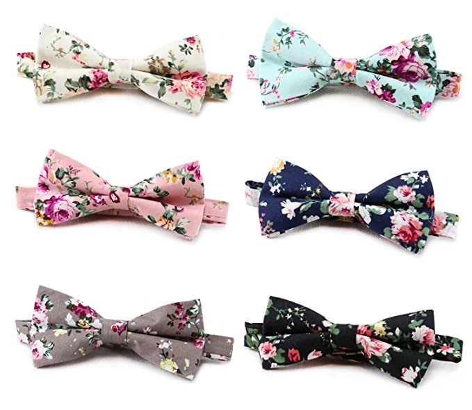 aca7bd80f03fa Bow Tie for Men Boys Men's Cotton Floral Bow Tie Pre-tied Neck Bowties,  Pack of 6