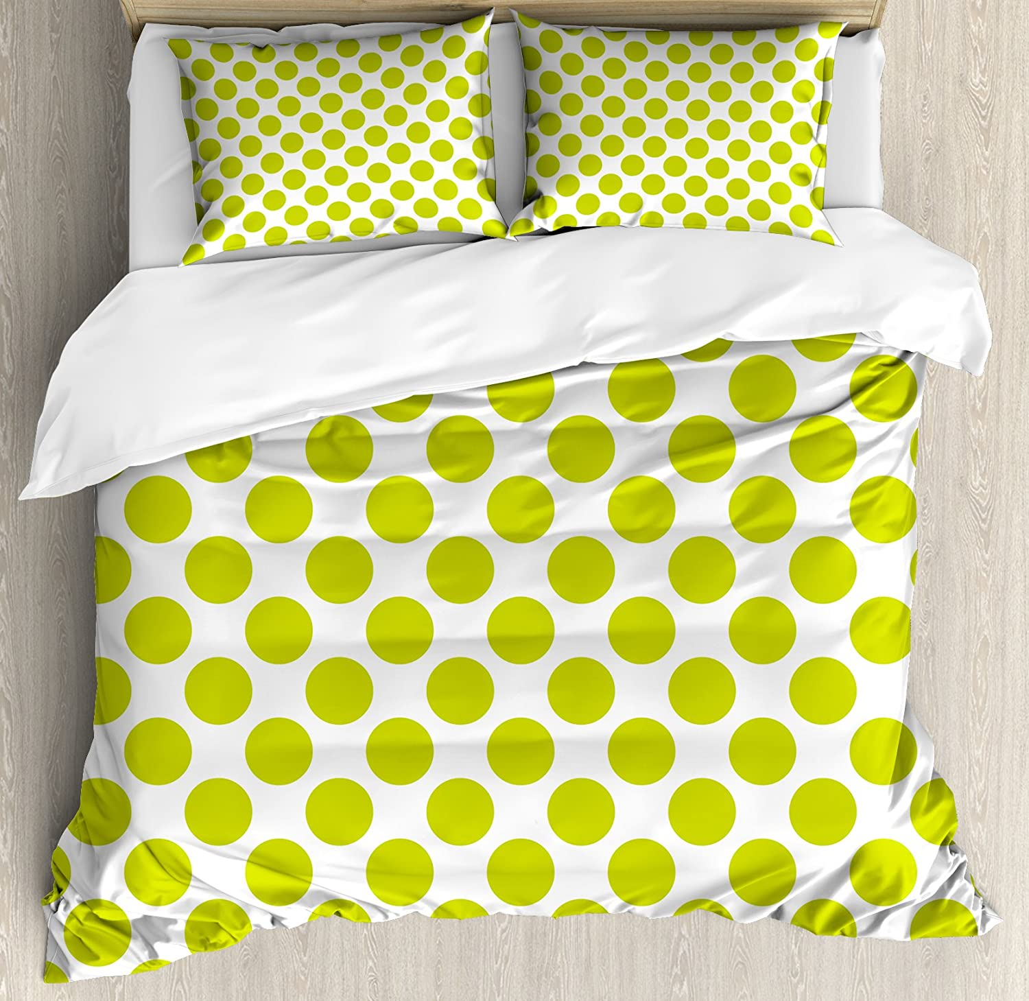 Ambesonne Lime Green Duvet Cover Set, Nostalgic Polka Dots Style Large Circles Girlish Vintage Rounds Pattern, Decorative 3 Piece Bedding Set with 2 Pillow Shams, Queen Size, Apple Green