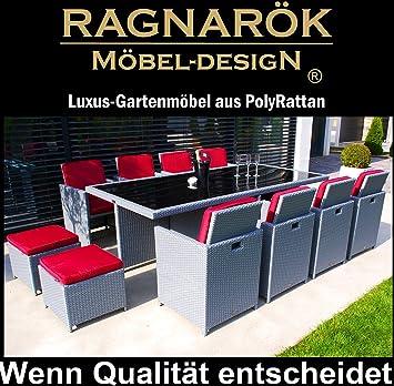Ragnarök-Möbeldesign PolyRattan - DEUTSCHE Marke - EIGENE Produktion - 8 Jahre GARANTIE auf UV-Beständigkeit Gartenmöbel Essg