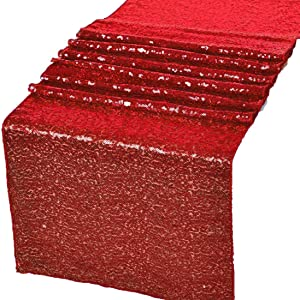 GWHome 12 X 108 inches Sequin Table Runner for Wedding Party Banquet Rectangular and Round Table (Red)