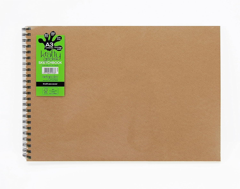artgecko Krafty Skizzenbuch A3quer 80Seiten (40Blatt) 150gsm säurefrei weißes Zeichenpapier Artgecko Sketchbooks