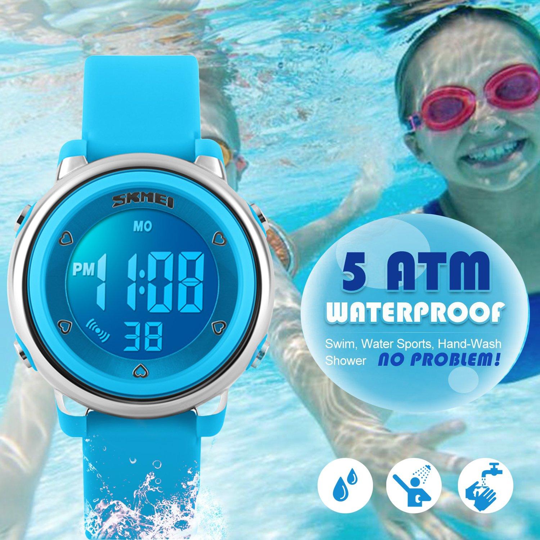 Digital Relojes para niños niñas, niños 5ATM resistente al agua reloj deportivo con fecha/alarma/Cronógrafo/7LED muestra, para deportes al aire libre muñeca relojes para poco adolescentes niños–azul por rsvom