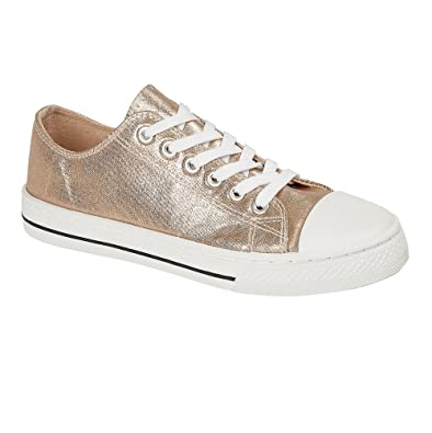 3f353f54ab6 Ladies Womens Girls Flat Lace Up Canvas Metallic Pumps Trainers Plimsoles  Sports Shoes Silver Gold Pink Size UK 3 4 5 6 7 8  Amazon.co.uk  Shoes    Bags